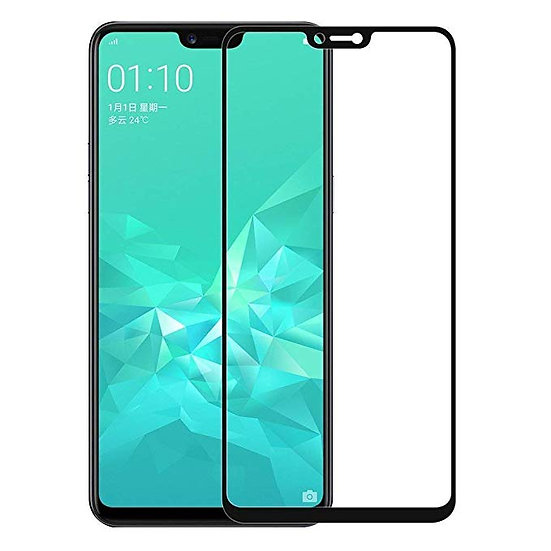 OPPO A3S Black 5D Tempered Glass (Full Glue)
