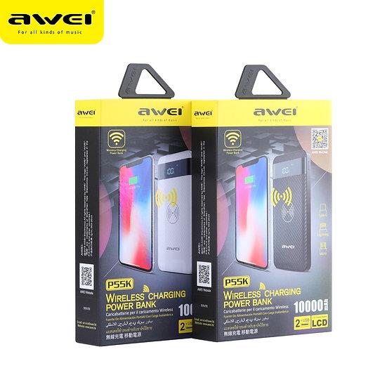 awei P55K 10000mAh Wireless Charging Power Bank.