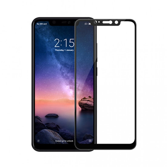 Redmi Note 6 Pro Black & White 5D Tempered Glass (Full Glue)