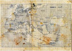 מפת המסע הימי של מעפילי האקסודוס ציו