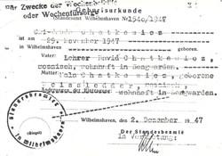 Cwi Chatkiewicz original birth certificate