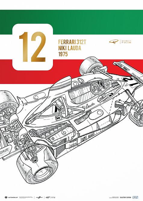 Giorgio Piola - Ferrari 312 T - Niki Lauda - 1975 | Collector's Edition