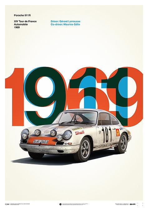 Porsche 911R - White - Tour de France - 1969 - Limited Poster