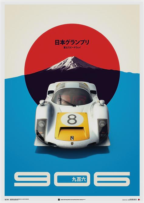 Porsche 906 - White - Japanese GP - 1967 - Poster