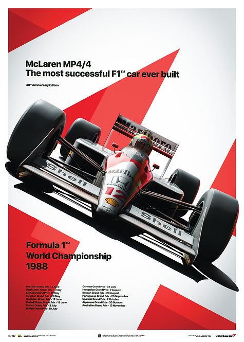 McLaren MP4/4 - Ayrton Senna - MP4/4 - San Marino GP - 1988 - Poster