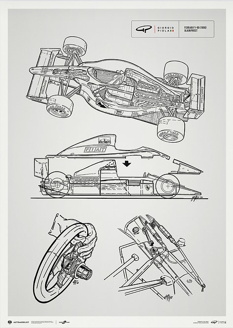 Giorgio Piola Technical Drawing - Ferrari F1-90 - 1990