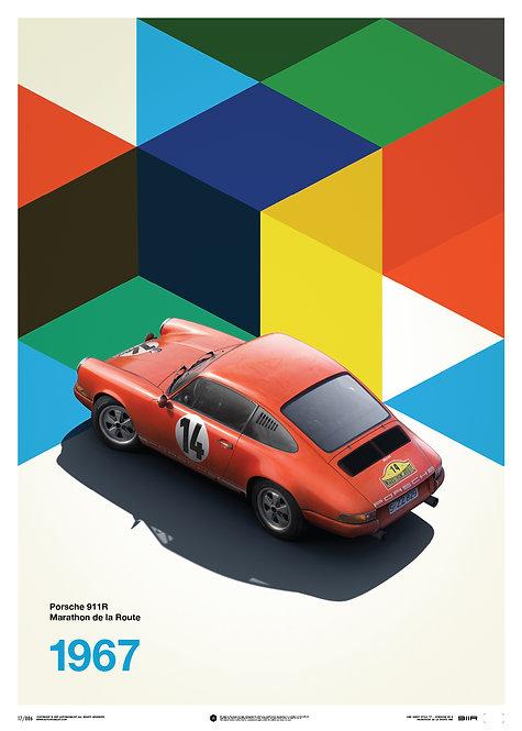 Porsche 911R - Red - Marathon de la Route - 1967 - Limited Poster