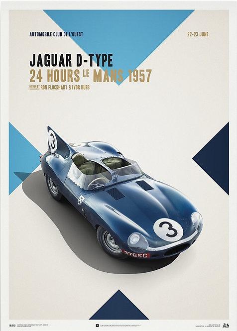 Jaguar D Type - Blue - 24h Le Mans - 1957 - Poster
