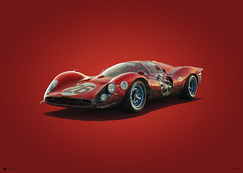 Ferrari 412P - Red - Daytona - 1967 - Colors of Speed Poster