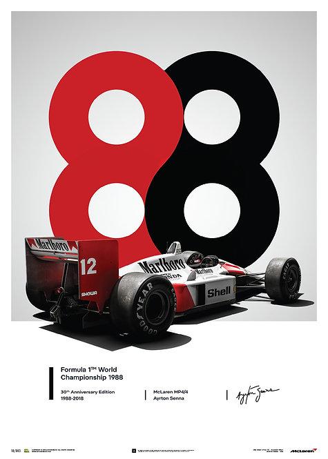 McLaren MP4/4 - Ayrton Senna - 1988 - San Marino GP - 1988 - Poster