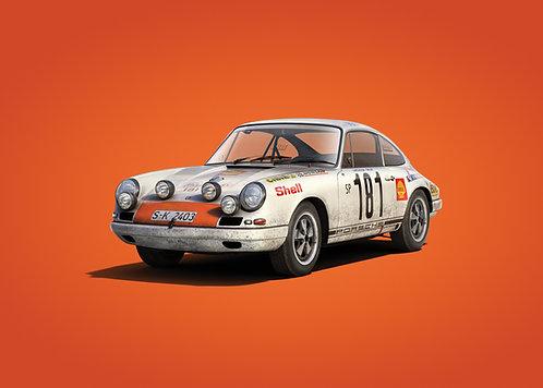 Porsche 911R - White - Tour de France - 1969 - Colors of Speed Poster