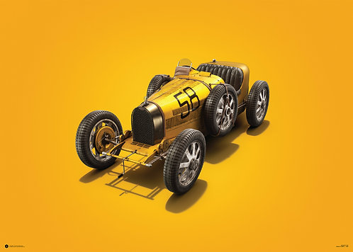 Bugatti T35 - Yellow - Targa Florio - 1928 - Colors of Speed Poster