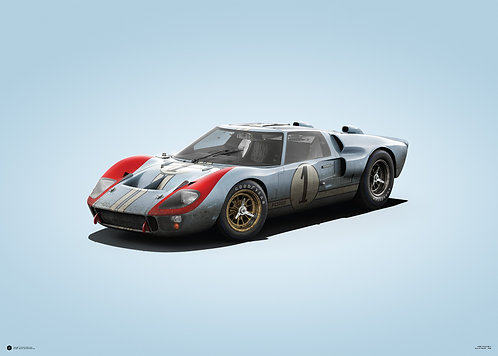 FORD GT40 - BLUE - 24H LE MANS - 1966 - COLORS OF SPEED POSTER