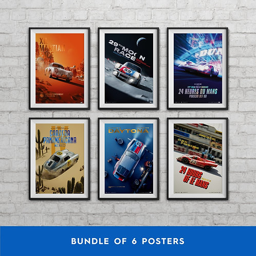 PORSCHE - PAST AND FUTURE COLLECTION | 6 POSTERS | COLLECTOR'S EDITION