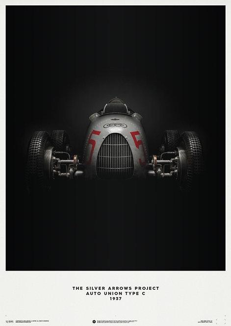 Auto Union Type C - Silver - 1937 - Poster