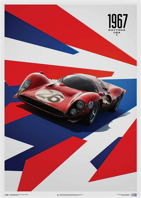 Ferrari 412P - Red - 24 Hours of Daytona - 1967 - Limited Poster