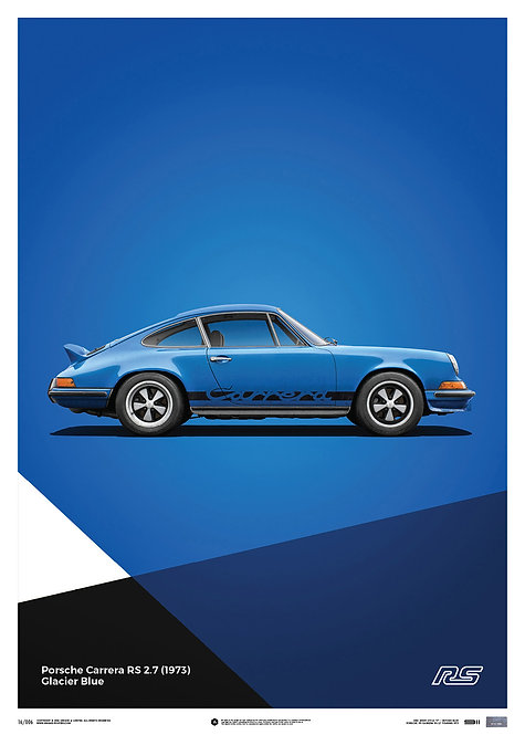 Porsche 911 RS - Blue - Limited Poster