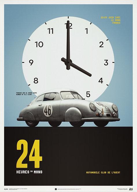 Porsche GMUND - Silver - 24H Le Mans - 1951 - Poster