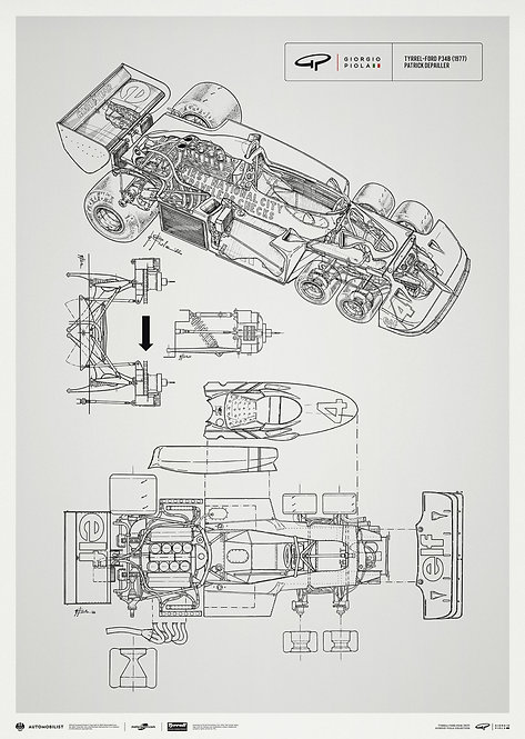 Giorgio Piola Technical Drawing - Tyrrell P34B - 1977