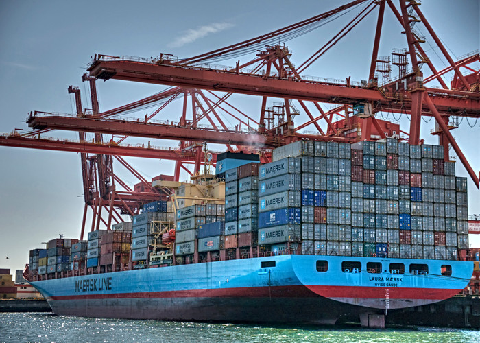 Container ship loading up in Vancouver harbour