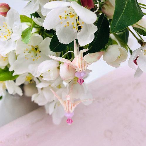 Origami Ohrringe Kranich  Rosa-Weiß Kirschblüte  mit Swarovski Grasperlen