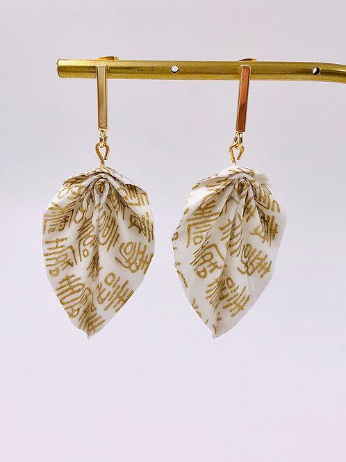 Origami Ohrringe Blätter Weiß-Gold
