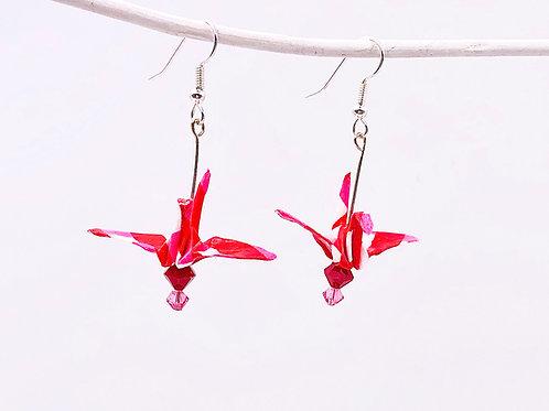 Origami Ohrringe Kranich Streifen mit Swarovski Grasperlen