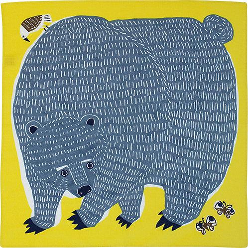 Musubi Katakata Furoshiki Wickeltuch, Motiv: Bär Vogel Gelb, 50 x50  c