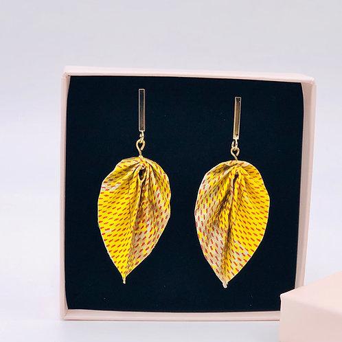 Origami Ohrringe Blätter Gelb-Gold