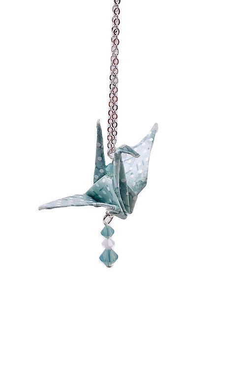 Origami Kette Kranich Türkis Dot  mit Swarovski Grasperlen