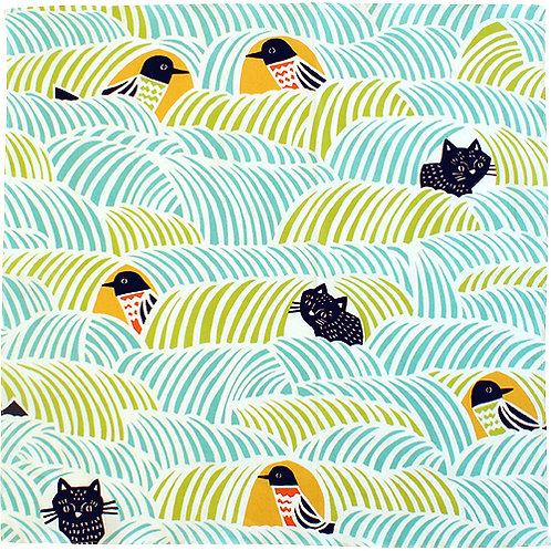 Furoshiki 45 cohare  Schwarze Katze und Vogel