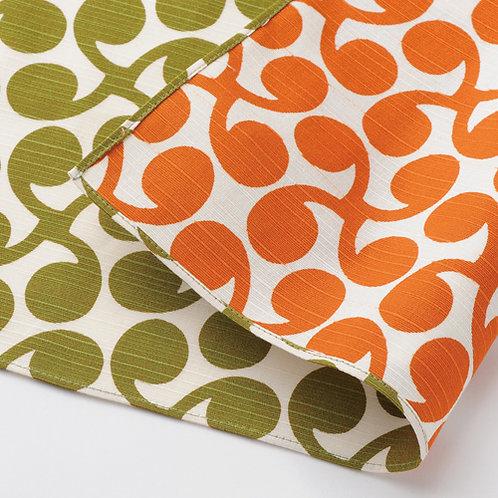 Furoshiki 104 Isa monyo Reversible Shinme Grün orange