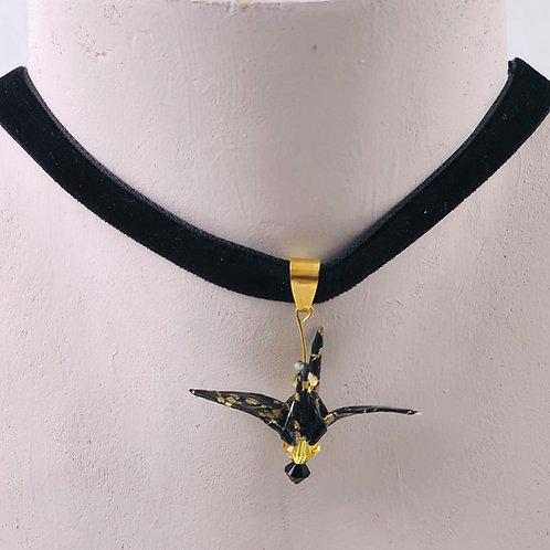 Origami Trachtenschmuck Kranich Schwarz-Gold