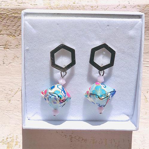 Origami Ohrringe Geometrisch Sakura -Blau mit Swarovski Perlen