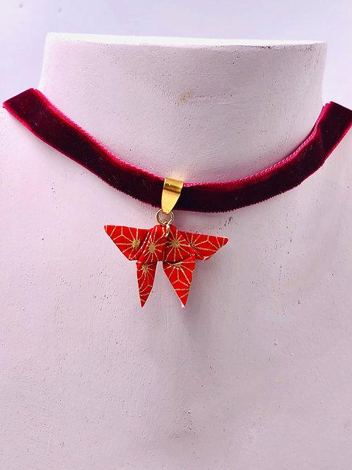 Origami Trachtenschmuck Schmetterling Rot-Gold