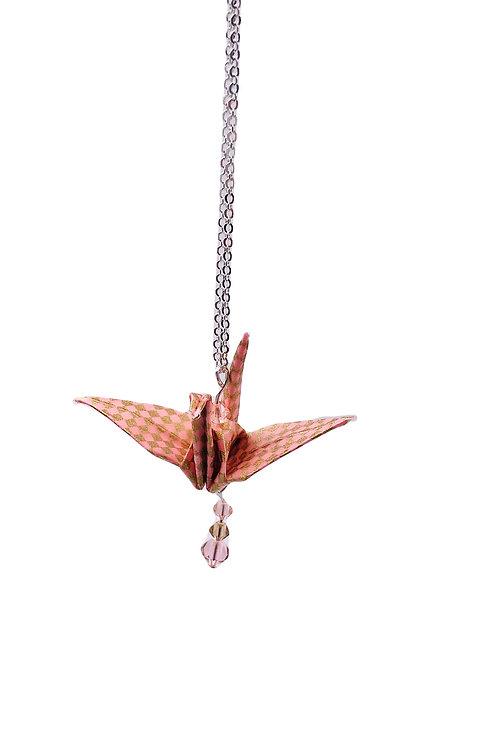 Origami Kette Kranich Rosa-gold mit Swarovski Grasperlen