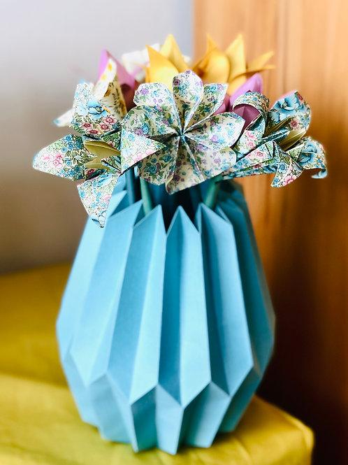 Origami Blumenstrauß mit Plissee Vase Mittel Mint-Bunt