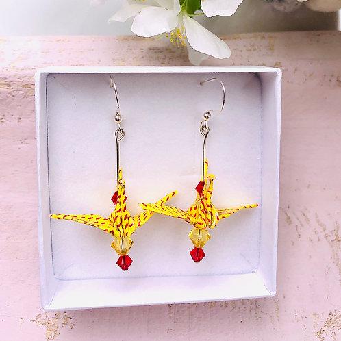 Origami Ohrringe Kranich Gelb Rot mit Swarovski Grasperlen