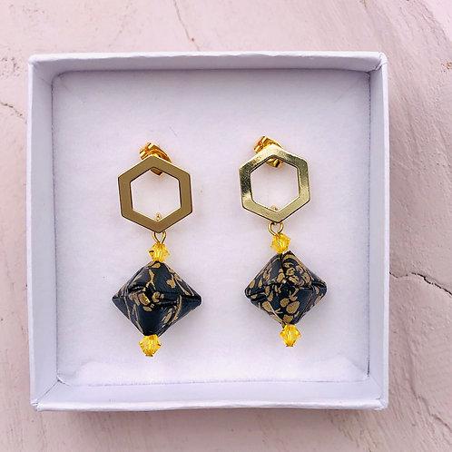 Origami Ohrringe Geometorisch Schwarz-Gold mit Swarovski Perlen