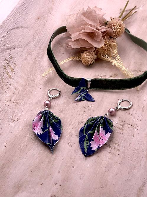 Origamischmuck Ohrringe Blätter  Lila Rosa  mit Swarovski Perlen