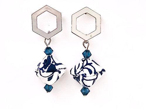 Origami Ohrringe Geometrisch Kon mit Swarovski Perlen