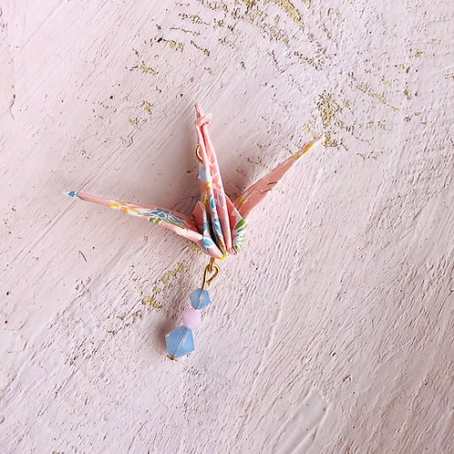 Origami Kette Kranich Rosa Blau Blumen  mit Swarovski Grasperlen