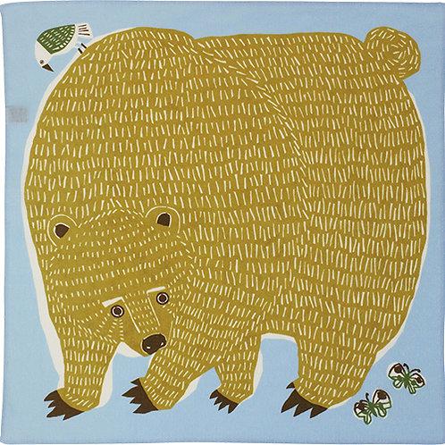 Furoshiki 50 Katakata  Bär  Gelb-Hellblau , 50 x50  c