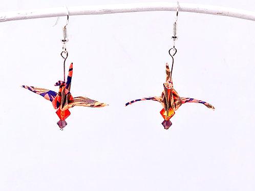 Origami Ohrringe Kranich Frosch  mit Swarovski Grasperlen