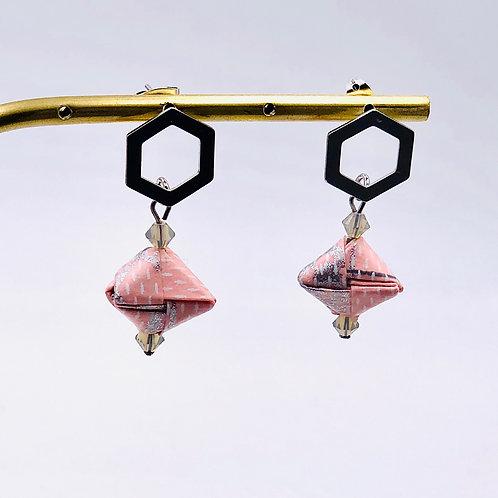 Origami Ohrringe Geometrisch Rosa-Grau mit Swarovski Perlen