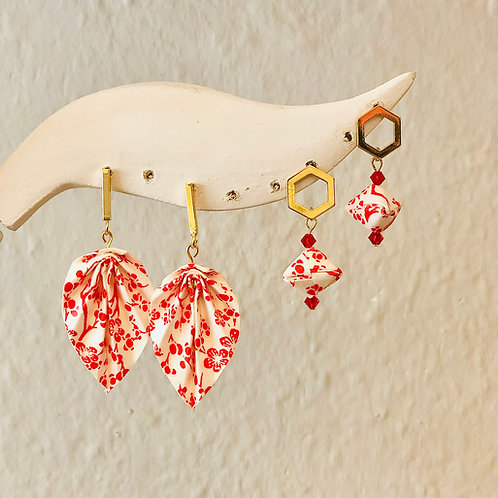 Origami Ohrringe Blätter Ume Rot