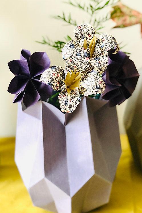 Origami Blumenstrauß mit Plissee Vase Mittel Lila-bunt