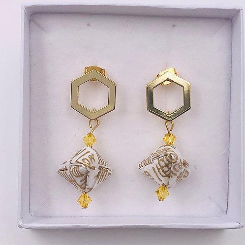 Origami Ohrringe Geometrisch Gold -Weiß mit Swarovski perlen