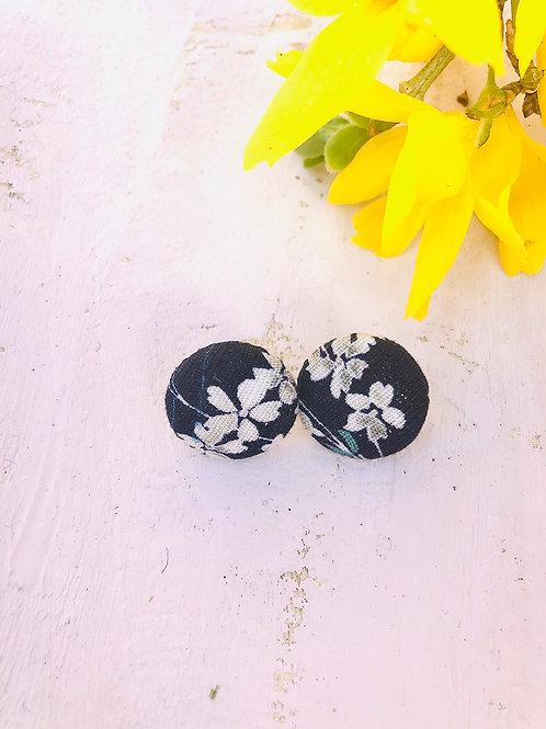 Kurumibotan-Ohrringe Dunkelblau+Blume