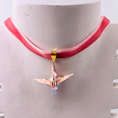 Origami Trachtenschmuck Kranich Rosa